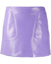 Courreges Leather-effect Mini Skirt - Purple