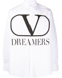 Valentino Overhemd Met Vlogo Print - Wit