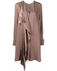 Fendi Monogram-pattern Long-sleeve Dress - ブラウン