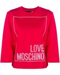 Love Moschino Logo Print Round Neck Top - Red