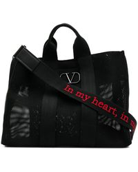 Valentino Draagtas Met Mesh Logo - Zwart