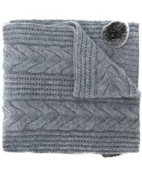 N.Peal Cashmere Pom-pom Cable Knit Scarf - Gray