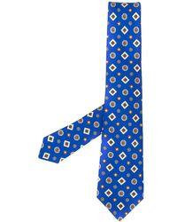 Kiton Geometric embroidered silk tie - Blau