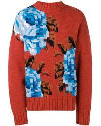 AMI Oversized-flower Intarsia Sweater - Orange