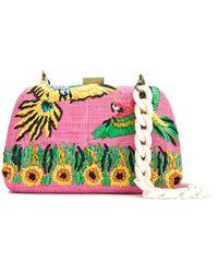 Serpui Embroidered Raffia Clutch - Многоцветный