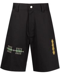 Adish Embroidered-motif Chino Shorts - Black