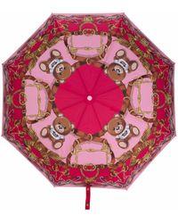 Moschino Paraguas con motivo Teddy Bear - Rosa
