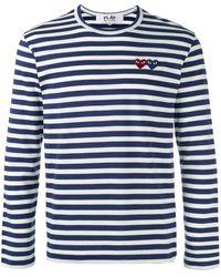 COMME DES GARÇONS PLAY Langarmshirt mit Querstreifen - Blau