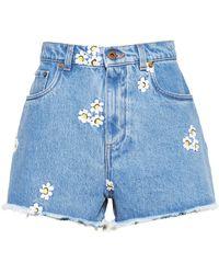 Miu Miu Embroidered Floral Shorts - Blue