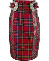 Philipp Plein Tartan Pencil Skirt - Red
