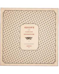 Gucci Ivory And Black Invite Print Silk Scarf - Naturel