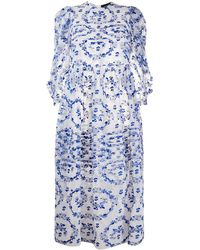 Simone Rocha Robe plissée à fleurs brodées - Bleu