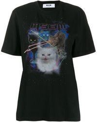 MSGM T-Shirt mit Katze - Schwarz