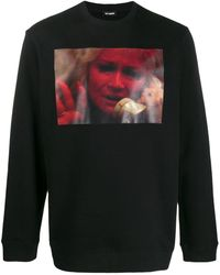 Raf Simons Sweat-shirt en jersey de coton à imprimé photo - Noir