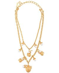 Oscar de la Renta Pinecone Pearl Necklace - Metallic