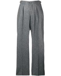 Officine Generale Pinstripe Wide-leg Trousers - Grey