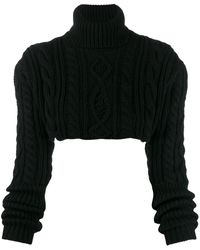 Andrea Ya'aqov Cable Knit Cropped Sweater - Black