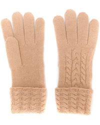 N.Peal Cashmere Cable Knit Cashmere Gloves - Natural