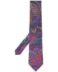 Etro Paisley Patterned Tie - Purple