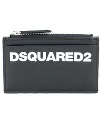 DSquared² Leather Zip Purse With Multiple Slip Pockets - Black