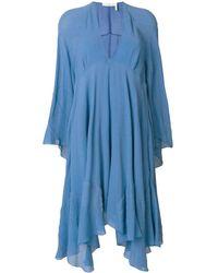 Chloé Асимметричное Платье С V-образным Вырезом - Синий