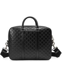 Gucci Signature Leather Briefcase - Black