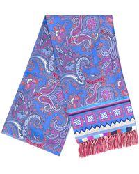 Etro Foulard en soie à motif cachemire - Bleu