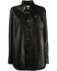 Bottega Veneta Oversized Leather Buttoned Shirt - Black