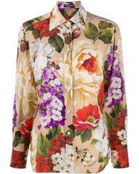 Dolce & Gabbana Rose Print Shirt - Pink