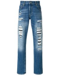 Alexander McQueen - Straight-leg Distressed Jeans - Lyst
