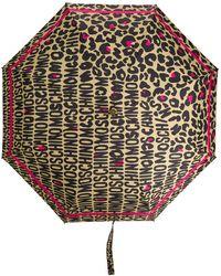Moschino Paraguas con estampado de leopardo y logo - Multicolor