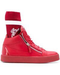 Giuseppe Zanotti - Sneaker high MAY LONDON Glattleder Logo rot - Lyst