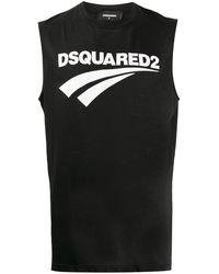 DSquared² Топ Без Рукавов С Круглым Вырезом И Логотипом - Черный