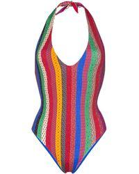 Etro Striped metallic halterneck swimsuit - Rot