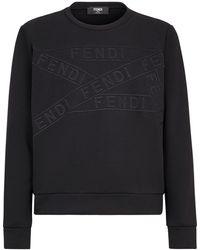 Fendi Толстовка С Вышитым Логотипом - Черный