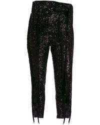 Christian Pellizzari Fringed Sequin Trousers - Black