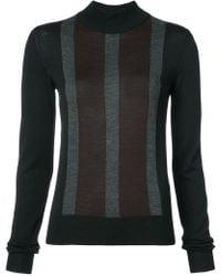 Vera Wang - Striped Front Slim-fit Jumper - Lyst