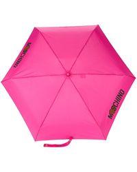 Moschino Paraguas con estampado del logo - Rosa