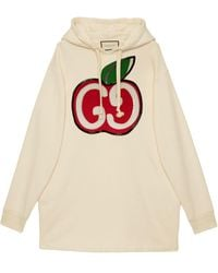 Gucci Hooded Dress With GG Apple Print - White