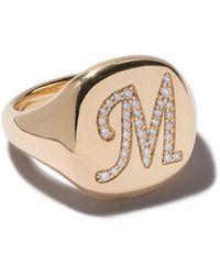 David Yurman 18kt Yellow Gold Cable Collectibles Diamond M Initial Pinky Signet Ring - Metallic