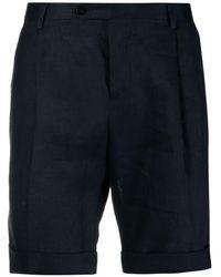 Billionaire Embroidered-crest Pressed-crease Shorts - Blue