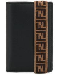Fendi Ff Motif-strap Cardholder - Black