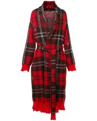 Alexander McQueen - Distressed Tartan Knit Coat - Lyst