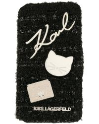 Karl Lagerfeld - Book Type Tweed With Pins Iphone Case - Lyst