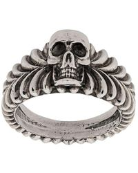 Emanuele Bicocchi Gravierter Ring mit Totenkopf - Mettallic