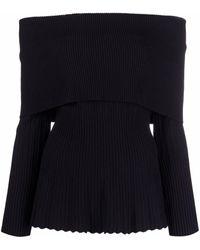 Antonino Valenti Ribbed-knit Off-shoulder Jumper - Black
