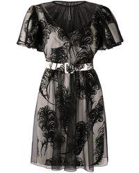 Moschino フェザープリント ベルテッドドレス - ホワイト