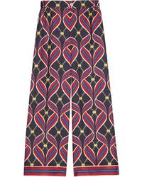 Gucci Printed Silk Pants - Red