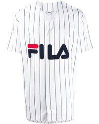 Fila - Logo Embroidered V-neck T-shirt - Lyst