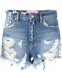 Chiara Ferragni Short en jean à effet usé - Bleu